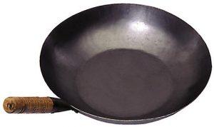 Wok, Eisenpfanne, Durchm.35 cm, flacher Boden